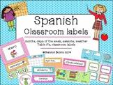Classroom Label Set in Spanish- polka dots