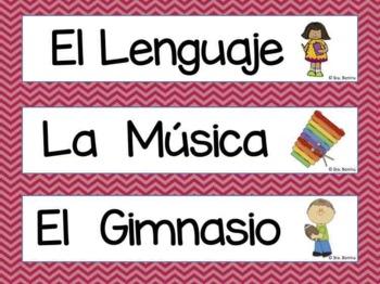 Classroom Label Set in Spanish- chevron