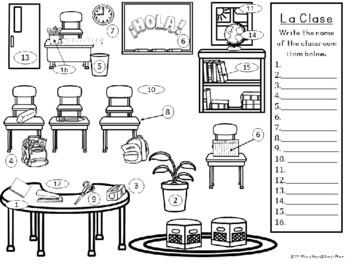 Spanish Classroom Labeling Activity