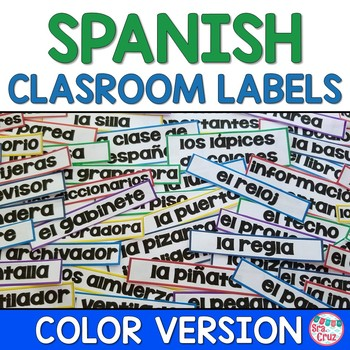 Spanish Classroom Labels RAINBOW (55+ labels!)