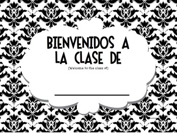 Spanish Classroom Labels Damask