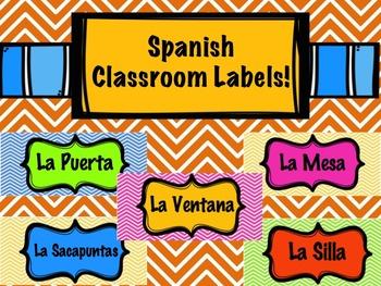 Spanish Classroom Labels