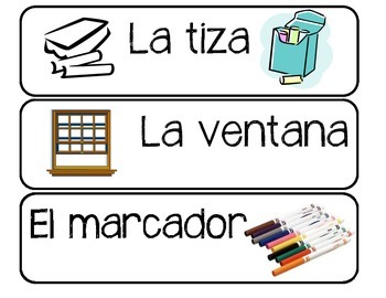 Spanish Classroom Labels -24 Spanish Words with Images