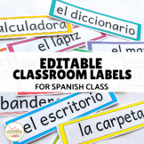 Editable Classroom Labels in Spanish