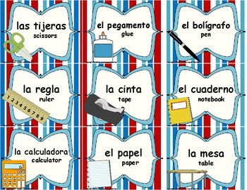 English to Spanish Classroom Labels: Red, White, & Blue