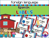 Dual Language - English to Spanish Classroom Labels: Red, White, & Blue