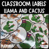 Spanish Classroom Labels (Llama or Cactus Themed) ***Editable**