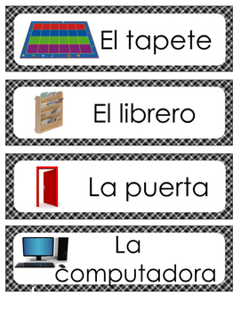 Spanish Classroom Labels Black Plaid