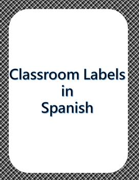 Spanish Classroom Labels Black Plaid