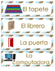 Spanish Classroom Labels Brown Stripes
