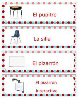 Spanish Classroom Labels Freebie Sampler