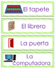 Spanish Classroom Labels Lime Green