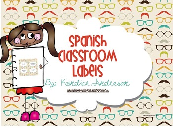 Spanish Classroom Labels {Mustache Theme}