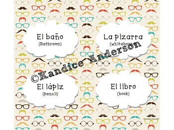 Spanish Classroom Labels {Mustache Theme}