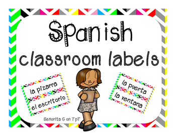 Spanish Classroom Labels - Rainbow