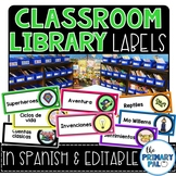 Spanish Classroom Library Labels EDITABLE