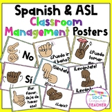 Spanish Classroom Management Posters with ASL