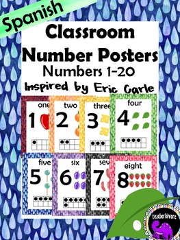 Spanish Classroom Number Posters - Theme Inspired By Eric Carle