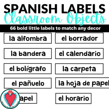 Spanish Labels Spanish Classroom Objects - Los Útiles Escolares