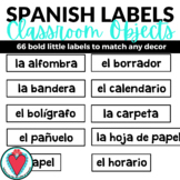 Spanish Classroom Labels - Spanish Class Objects and Defin