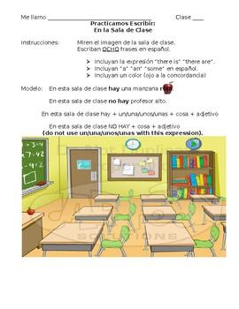 Spanish Classroom Object Sentence Practice