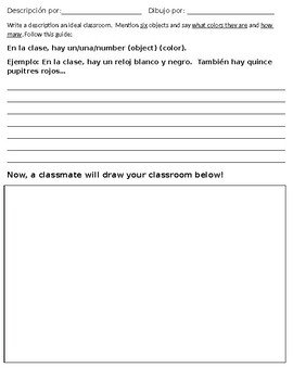 Spanish Classroom Objects, Colors, Article Agreement Practice Worksheet