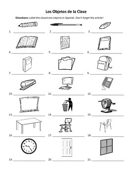 spanish classroom objects labeling worksheet by exploring french and spanish. Black Bedroom Furniture Sets. Home Design Ideas