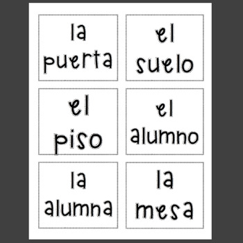 Spanish Classroom Objects Posters and Labels