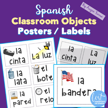 Spanish Classroom Objects Posters, Labels, Word Wall