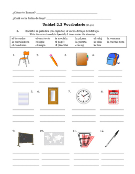 Spanish Worksheets On Classroom Objects | Teachers Pay Teachers