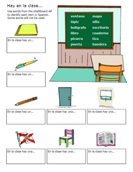spanish classroom objects worksheets by fran lafferty tpt. Black Bedroom Furniture Sets. Home Design Ideas