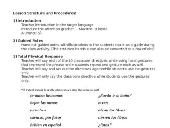 Spanish Classroom Phrases Lesson Plan, Presentation & Student Practice