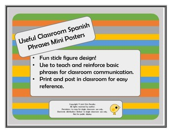 Spanish Classroom Phrases Mini Posters