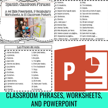 Spanish Classroom Phrases Poster Set Vocabulary Worksheets