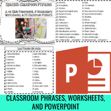 "Spanish ""Classroom Phrases"" 21 Poster Set and Bonus Vocabulary Worksheets"