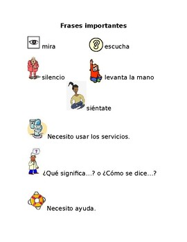 Spanish Classroom Phrases Worksheet / Study Guide