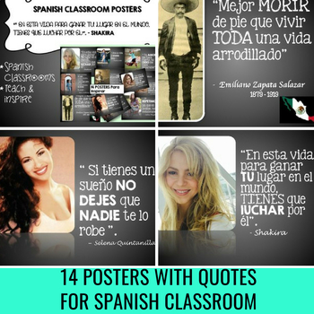 Spanish poster decor teaching resources teachers pay teachers 14 posters of famous hispanics spanish classroom decor fandeluxe Image collections