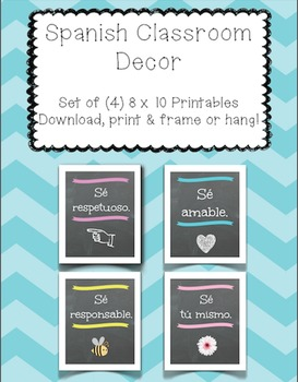 Spanish Classroom Posters, Spanish Decor, 8 x 10 Printables