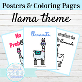Spanish Classroom Posters and Coloring Pages Llama Theme
