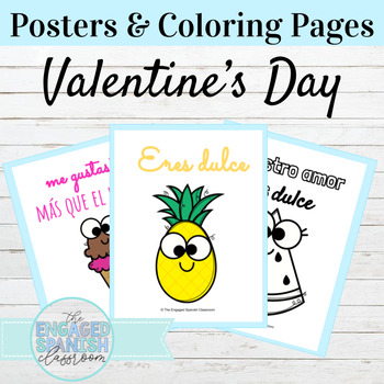 Spanish Classroom Posters and Coloring Pages Valentine Theme
