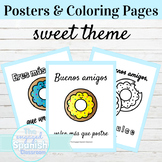 Spanish Classroom Posters and Coloring Pages Sweet Theme