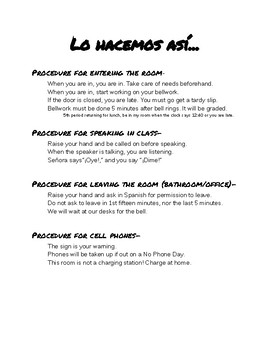 Spanish Classroom Procedures Poster
