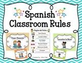 Spanish Classroom Rules (Chevron & Polka Dot Posters)