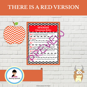 Spanish Classroom Rules Poster - Zigzag Design in Red