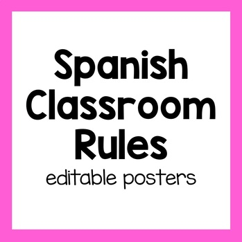 Spanish Classroom Rules Posters (editable)