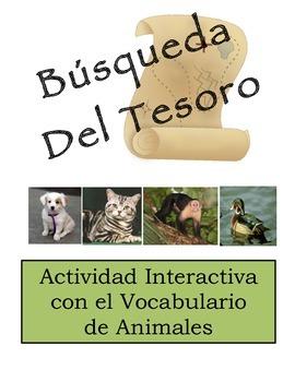 Spanish Animal Vocabulary Scavenger Hunt Activity