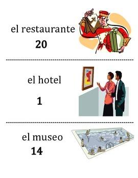 Spanish City Location Vocabulary Scavenger Hunt Activity