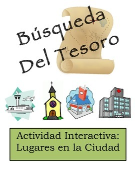 Spanish City Location Vocabulary Scavenger Hunt Activity