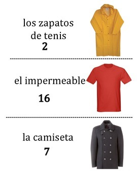 Spanish Clothing Vocabulary Scavenger Hunt Activity