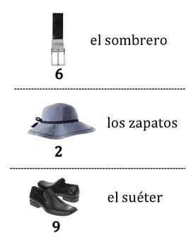 Spanish Clothing Vocabulary Scavenger Hunt Activity